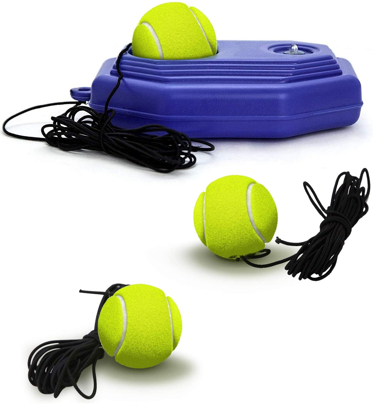 Hoperay Tennis Trainer Rebound Ball, 1 Study Rebounder + 3 Balls with String + 1 Convenient mesh Carry Bag, Solo Practice Equipment, Machine Portable Self Training Tool