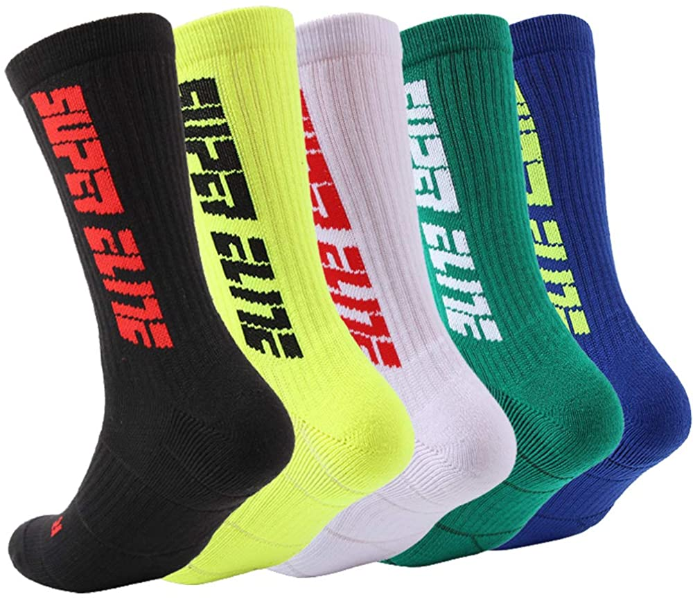 YOUNGBEST Mens Basketball Socks Athletic Cushioned Crew Sport Sock for Football Soccer Running Hiking