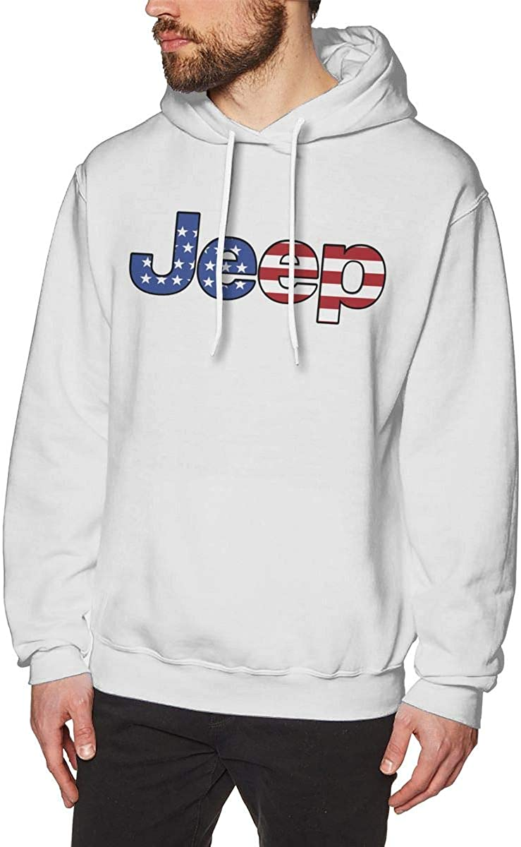 American Flag Jeep Mens No Pocket Pullover Popular Hoodie Sweatshirt