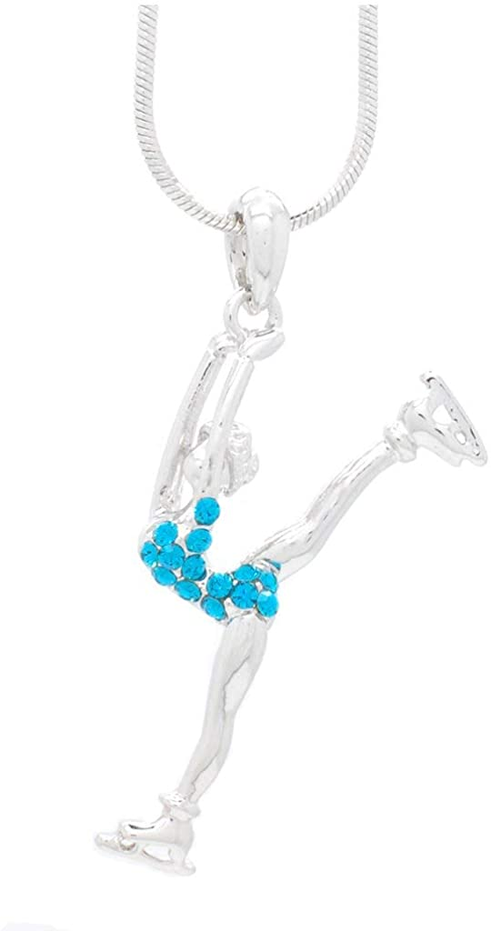 Violet Victoria & Fan Star Deluxe Crystal Split Leg Figure Skater Necklace - Choose Your Color!