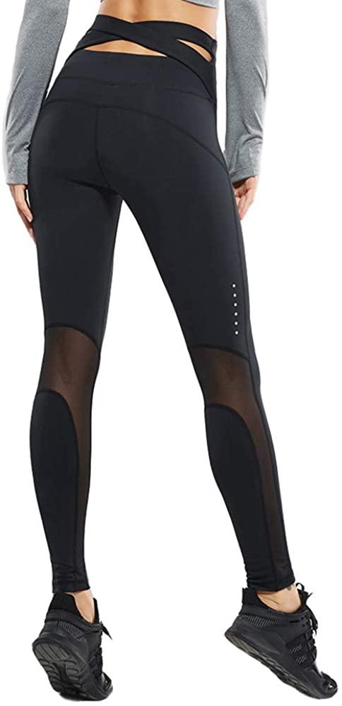 VANSYDICAL Women High Waist Yoga Pants Cross Belt Dance Tights Compression Running Fitness Leggings