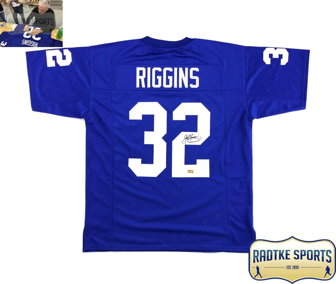 John Riggins Autographed/Signed Kansas Blue Custom Jersey