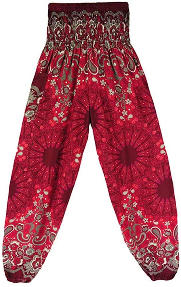 POQOQ Pants Men&Women Thai Harem Trousers Boho Festival Hippy Smock Yoga Free Size Wine