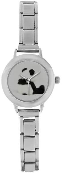 QUICKMUGS2U Lonely Panda Sitting On The Floor Womens Girls Stainless Steel Classic Watch Business Casual Fashion Wrist Watch Comfortable Watches