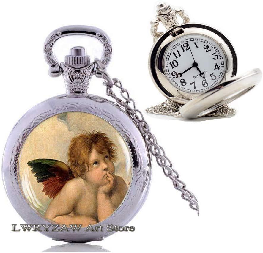 Angel Raphael Santi Pocket Watch Necklace, Angels of Sistine Madonna, Sistine Pocket Watch Necklace, Angel Pendant,Simple Pocket Watch Necklace,Handmade Pocket Watch Necklace,M116