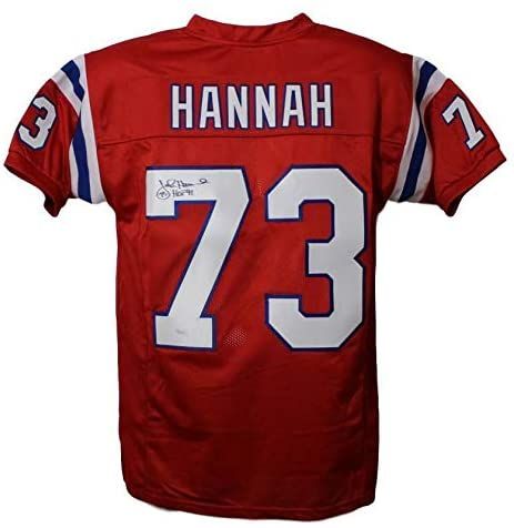 John Hannah Autographed New England Patriots Custom Red Size XL Jersey HOF - JSA Certified