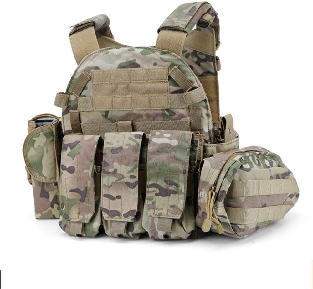 NOBUNO Tactical Vest, Multifunctional Sling Strap Outdoor Tactical Combat Vest Super Wear-Resistant Field Tactical Vest CS Special Forces Amphibious Vest Camouflage
