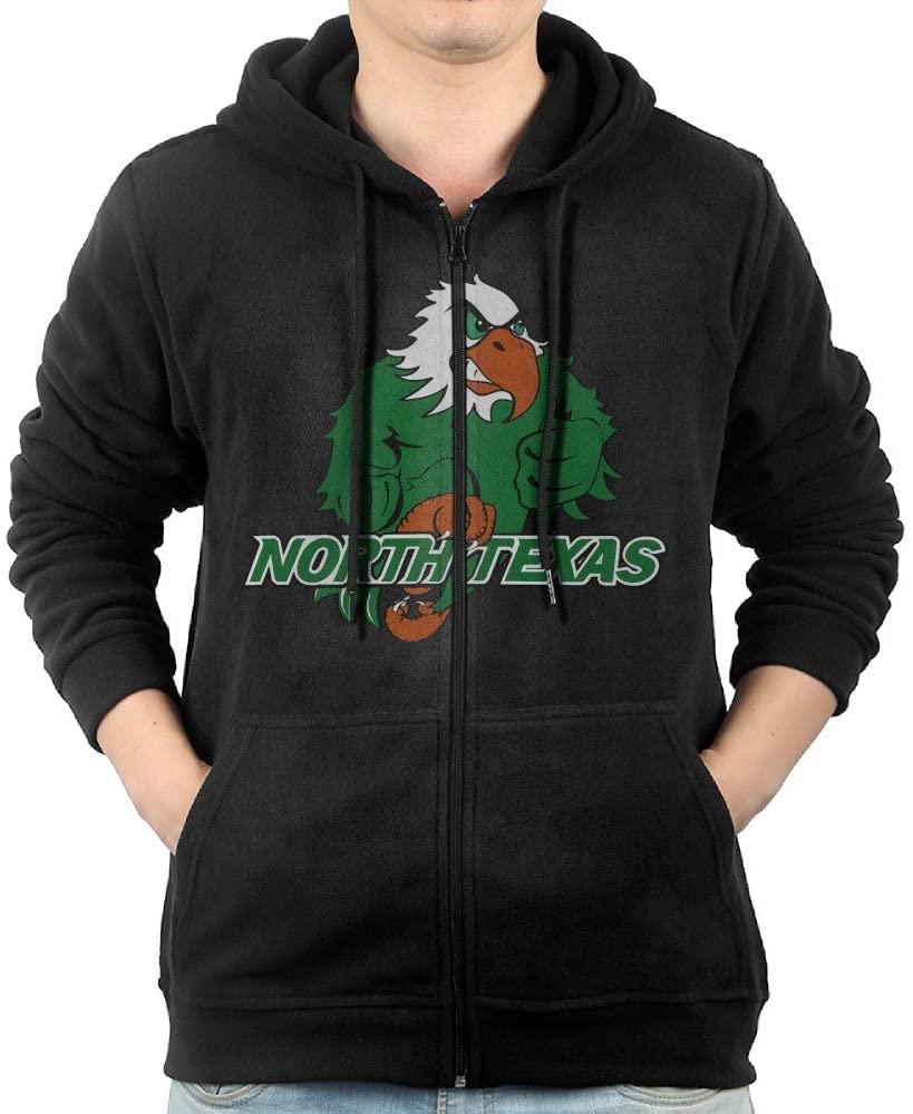 JLJK Men's University of North Texas Full Zip Sweatshirt Jackets Black