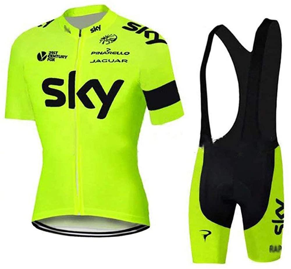 Men's Cycling Jersey Set Bicycle Short Sleeve Set Quick-Dry Breathable Shirt+Padded Bib Shorts …