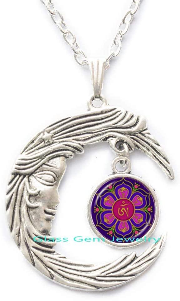 Om Buddha Necklace Namaste Pendant Yoga Jewelry Hinduism Symbol Pendant Meditation Hindu Sweater Necklace for WomenQ0231