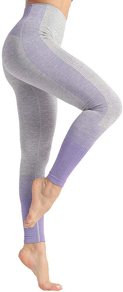 Dressystar High Waist Seamless Leggings for Women Workout Running Yoga Pants Tummy Control