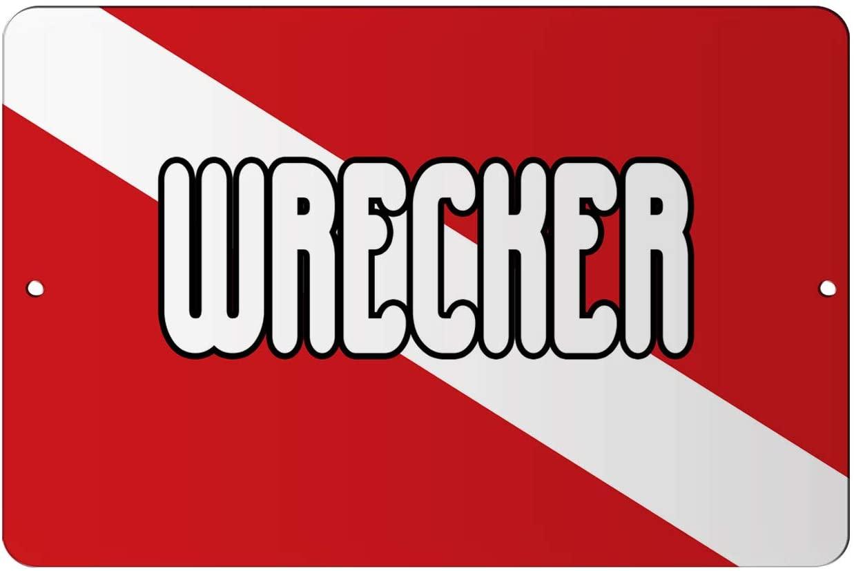 Makoroni - Wrecker Scuba Diving Scuba Diver 12x18 inc Aluminum Decorative Wall Street Sign