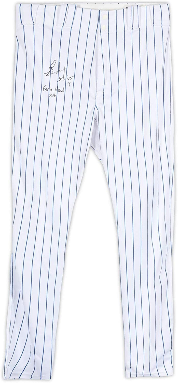 Brandon Nimmo New York Mets Autographed Game-Used #27 Pinstripe Pants from the 2016 MLB Season with