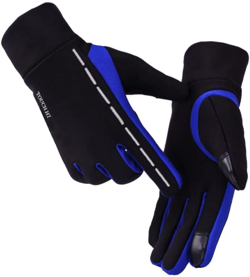 George Jimmy Windproof Touchscreen Gloves Elastic Warm Velvet Cycling Climbing Mobile Phone Gloves Size L-Blue