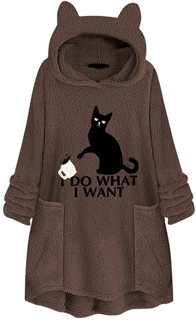 Bravetoshop Womens Coats, Fleece Embroidery Cat Ear Hoodies Plus Size Pocket Top Sweater Blouse