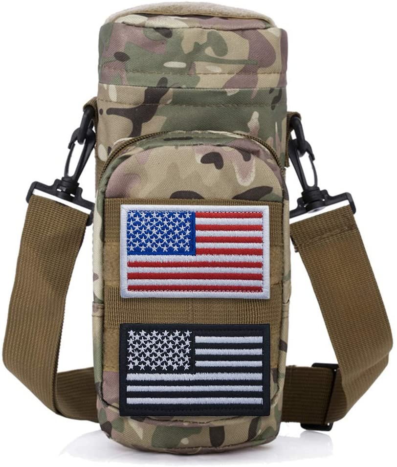 TOPTIE Molle Water Bottle Pouch, Military Tactical 32 Oz Drink Holder Carrier with Detachable Shoulder Strap, 2 American Flag Patches Optional