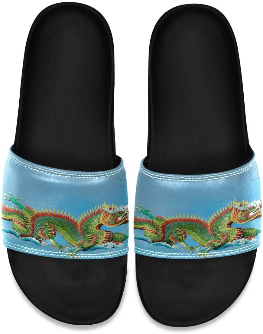 Ladninag Chinese Dragon Blue Men's Leather Slide Sandals Summer House Slippers Slip On Boys