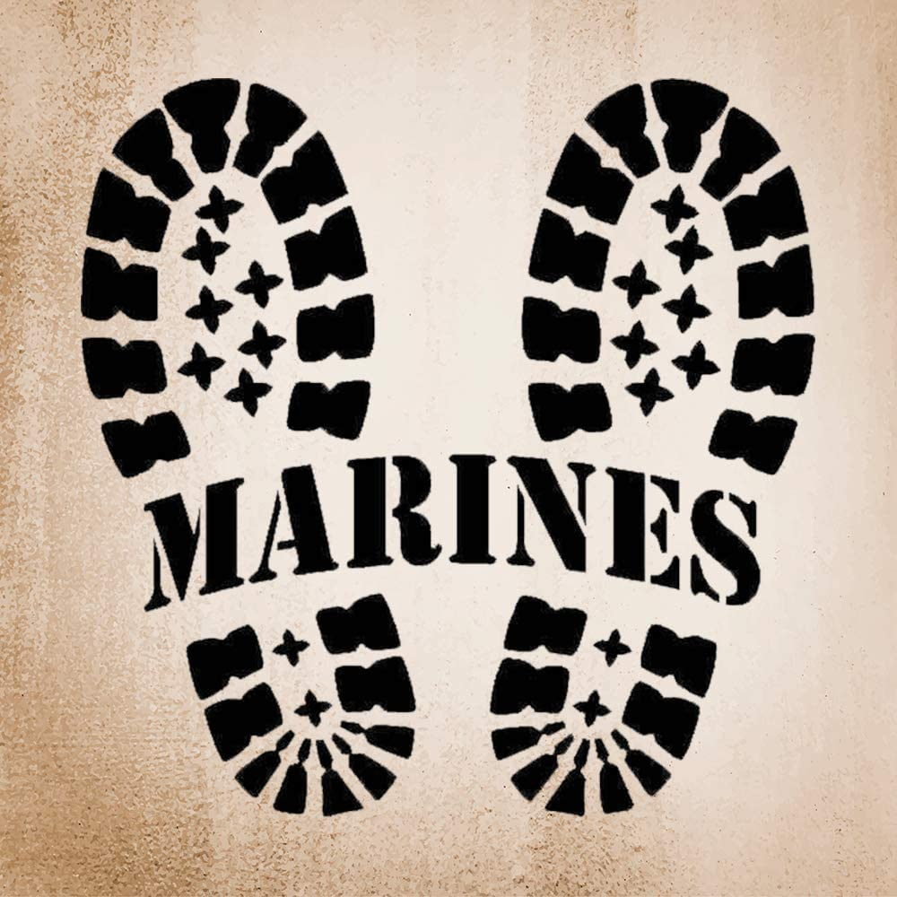 N/ A Marines with Bootprints Vinyl Sticker Graphic Bumper Tumbler Decal for Vehicles Car Truck Windows Laptop MacBook Phone Wall Door