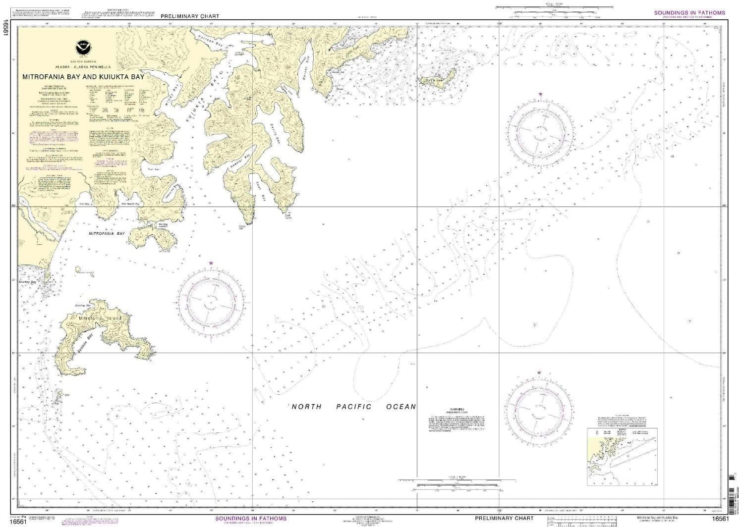NOAA Chart 16561: Mitrofania Bay And Kuiukta Bay