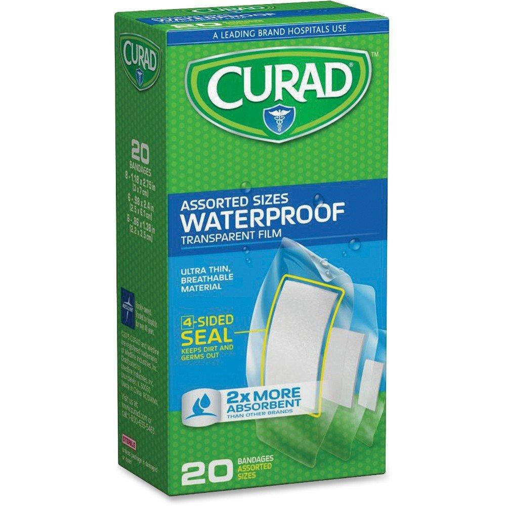 Curad Clear Waterproof Adhesive Strips - 20/Box - Transparent - Polyurethane MIICUR5108