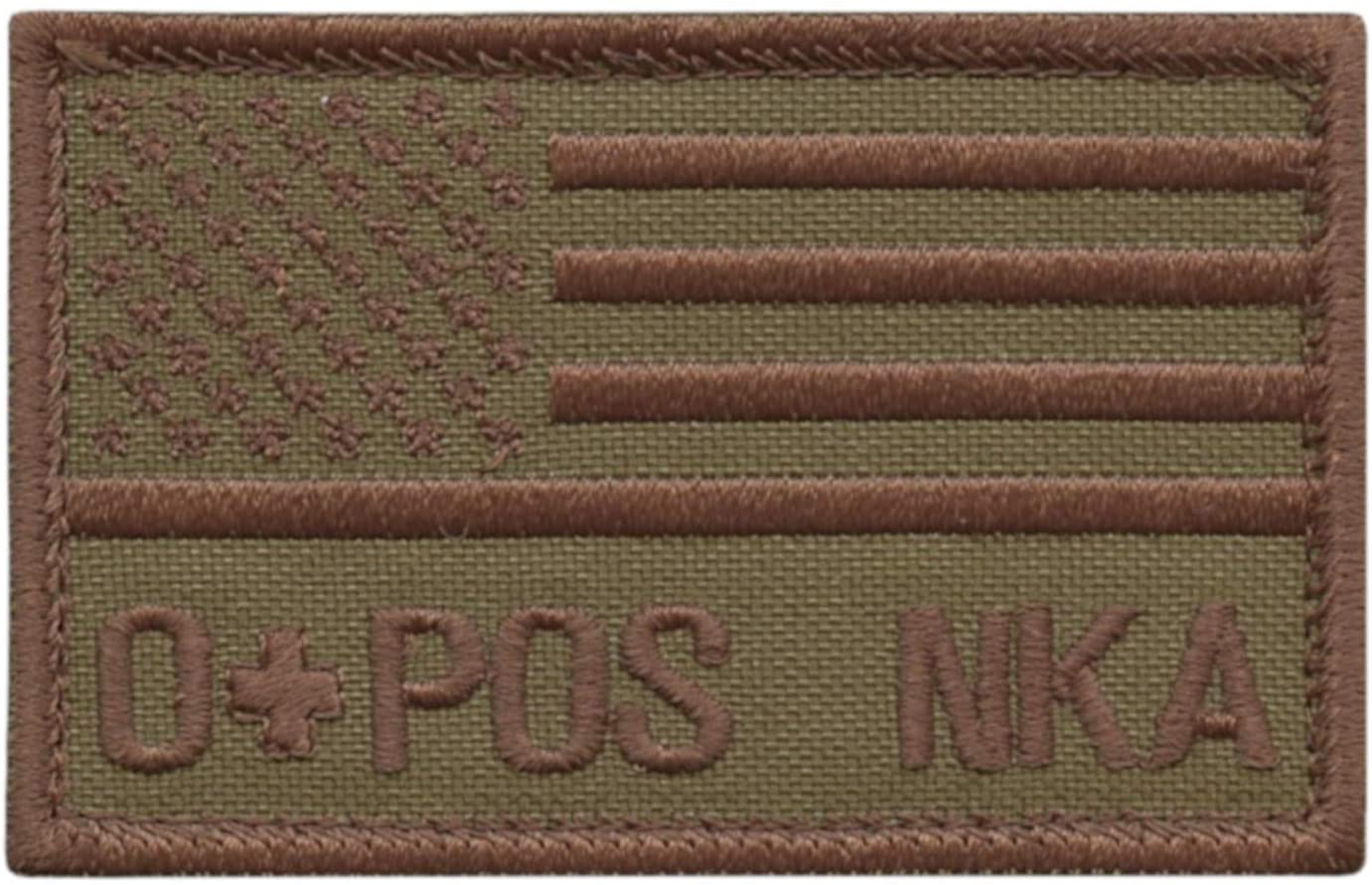 LEGEEON OPOS O POS Blood Type Tan Coyote USA America Flag NKA NKDA No Known Allergies IFAK Morale Tactical Fastener Patch