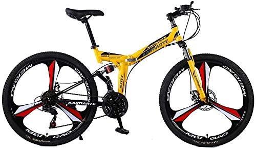 ZHANGZHANG Folding Mountain Bike Double Damping 3 Knife Wheel Bicycle Double Disc Brakes Mountain Bike,Mens and Womens Universal 0729 (Color : 24inch, Size : 21speed)