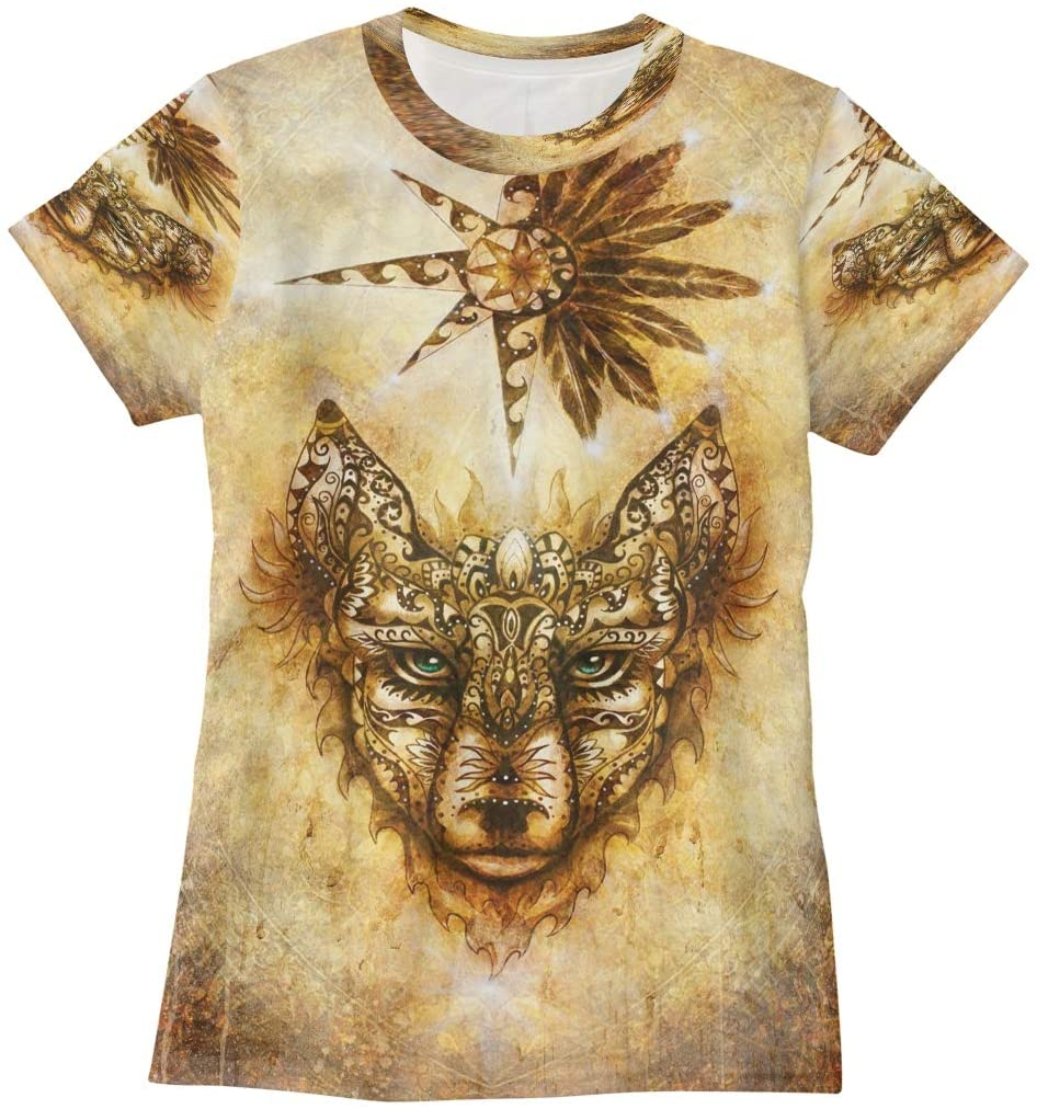 N /A Wolf Sacred Animal and Ornamental Star with Feathers Womens T Shirts Graphic Tees Shirts Casual Summer Short Sleeve Tshirt
