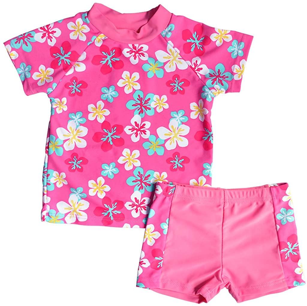 Girls Rash Guard Set Two Piece Long Sleeve Swimsuit UPF 50+ Sun Protective Swimwear