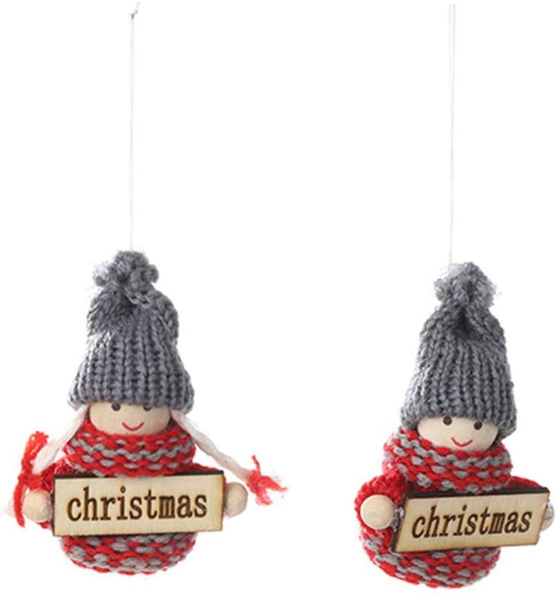 newshijieCOb 2Pcs Christmas Hanging Decor Kids Gnome Santa Shape Doll Christmas Tree Hanging Pendant Holiday Party Home Decoration Letter Plate Child