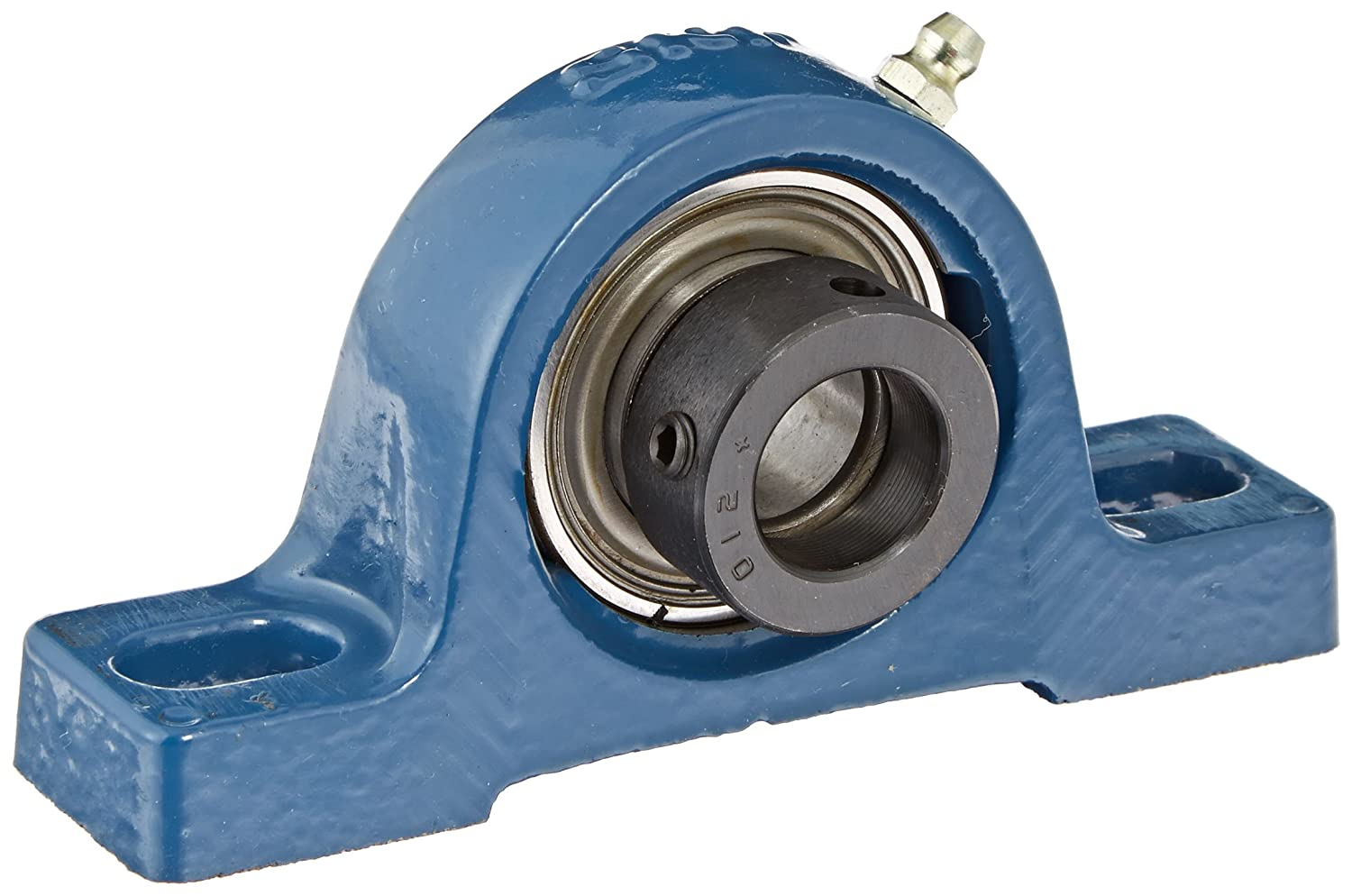 SKF SY 3/4 FM Pillow Block Ball Bearing, 2 Bolts, Normal-Duty, Eccentric Locking Collar, Contact Seals, Cast Iron, Inch, 3/4