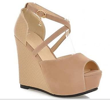 RainbowElk Women's Sandals Spring Comfort PU Casual Wedge Heel