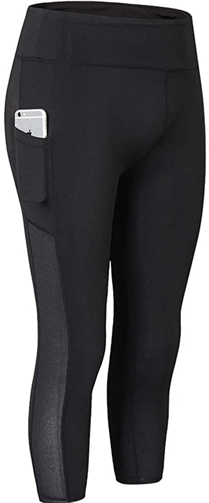 Ouno High Waist Side Pocket Yoga Capris 4 Way Stretch Workout Yoga Pants
