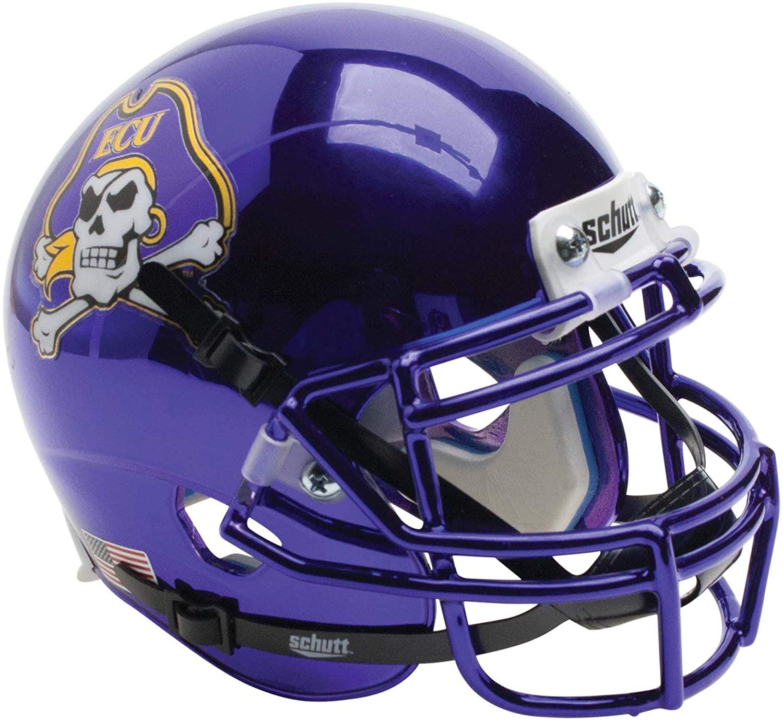 ECU Pirates Schutt Chrome Mini Football Helmet - College Mini Helmets