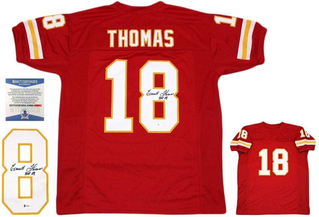 Autographed Emmitt Thomas Jersey - Red Beckett HOF 08 - Beckett Authentication - Autographed NFL Jerseys