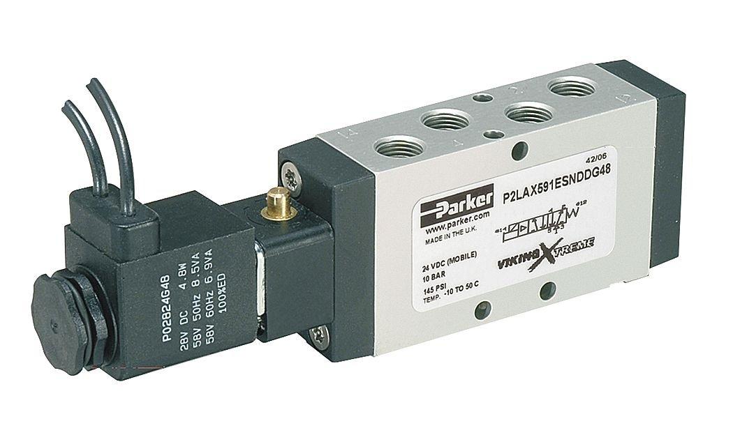 Parker P2LAX591ESHDDN Solenoid Air Control Valve, 1/8 in, 4-Way