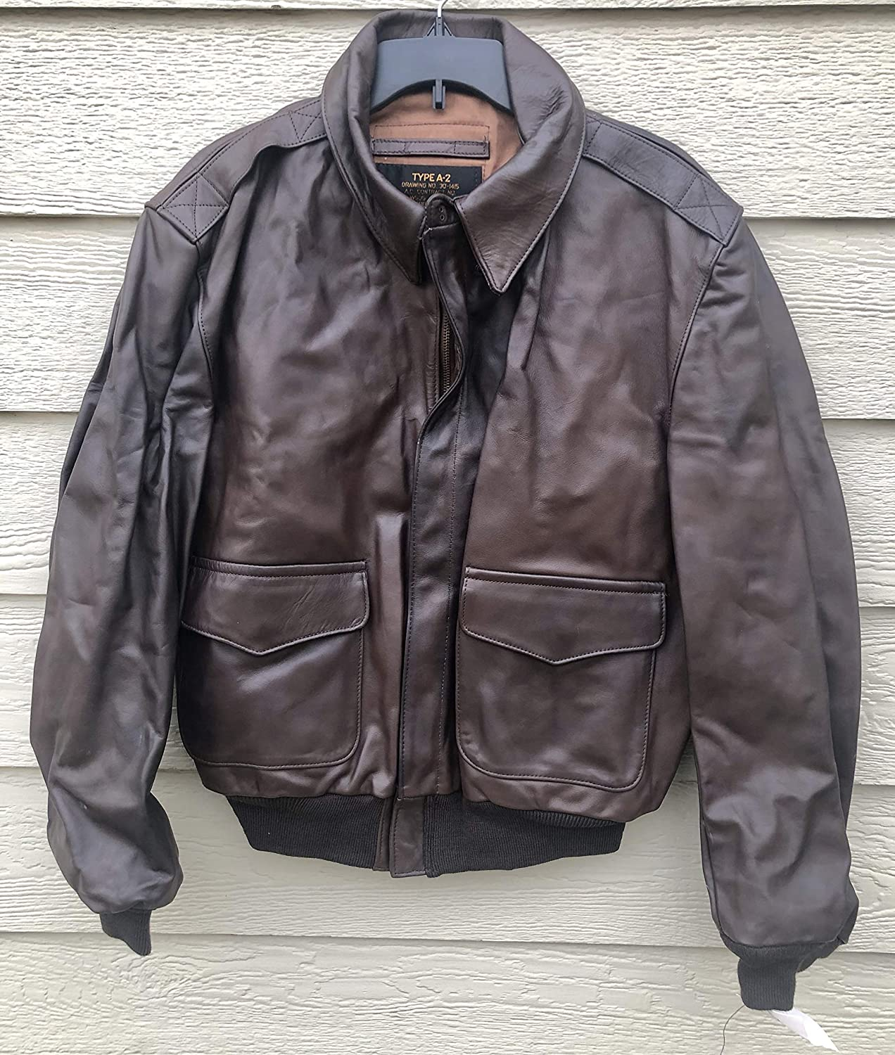 US Army Air Force Genuine Leather A-2 Bombers Flyers Men's Flight Jacket - Size 46.