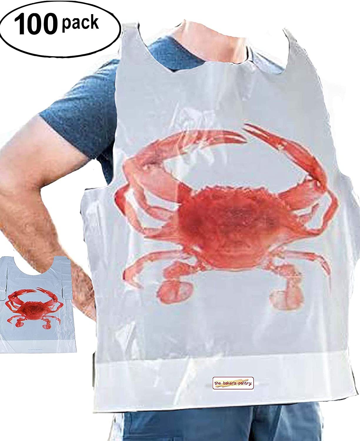 Party Supply Crab Bibs Seafood Feast Adult Disposable Bibs Protect Clothes from Spills Plastic Bibs disposable bibs for adults Size: 20