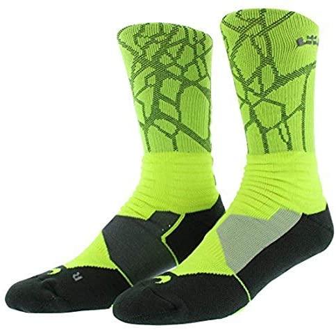 Men's Nike Lebron Hyper Elite Basketball Crew Socks Volt/iron Green Mediu Xlarge