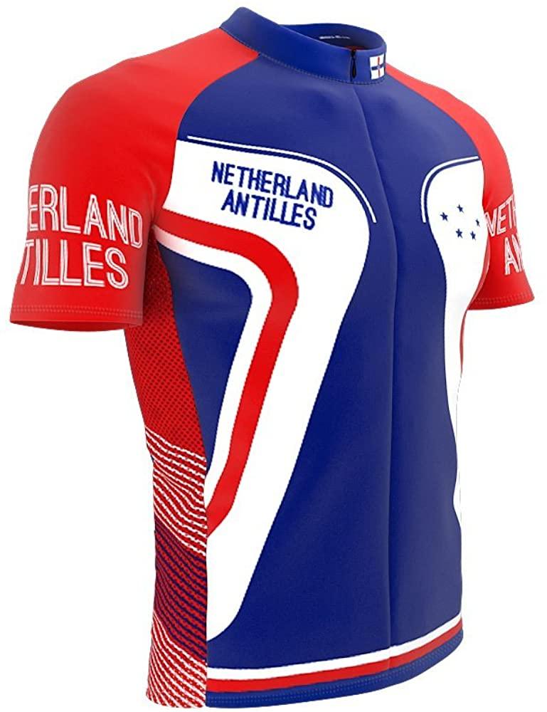 ScudoPro Netherland Antilles Full Zipper Bike Short Sleeve Cycling Jersey for Men