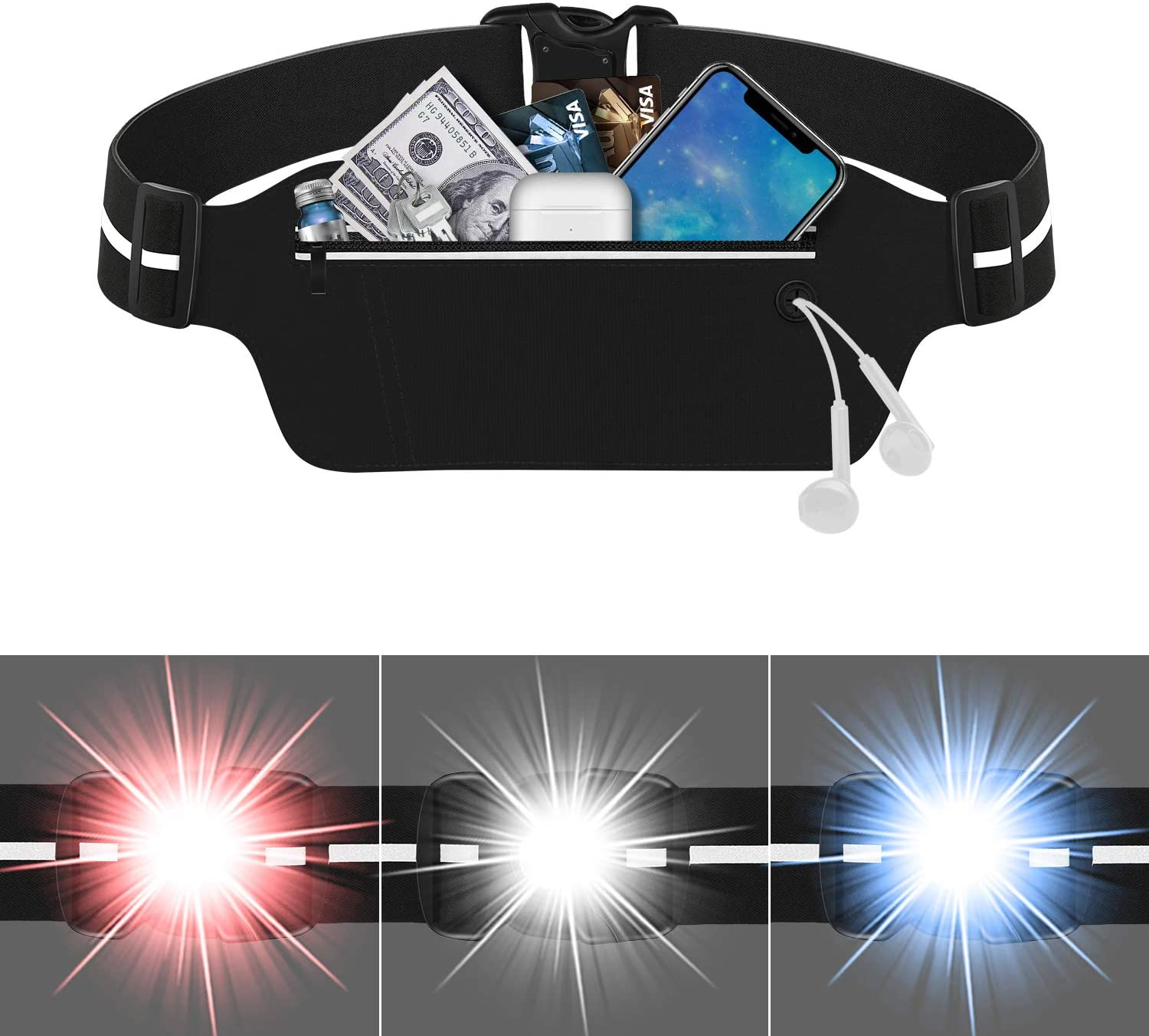 ZinonMax Running Pouch Belt with LED Light, USA Patented, Runner Waist Pack iPhone X 6 7 8 for Men and Women
