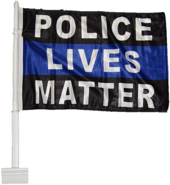AES 12x18 Police Lives Matter Blue Line Double Sided Car Vehicle 12x18 Flag