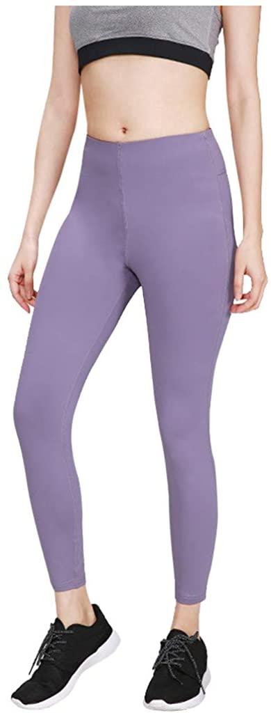 HDGTSA Women's High Waist Tight Sports Leggings Elastic Solid Color Fitness Yoga Cropped Pants