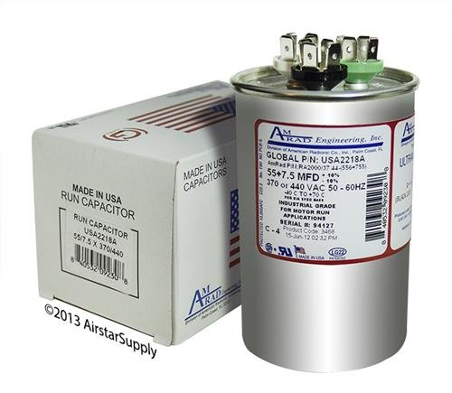 (2) Pack - GE/Genteq Z97F9973 / 97F9973-55 + 7.5 uf MFD 370/440 Volt VAC AmRad Round Dual Run Capacitor, Made in The U.S.A.