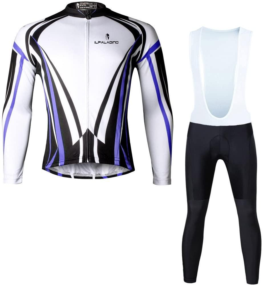 Paladinsport Mens Blue Long Sleeve Bicycle Apparel 100% Polyester Bike Jerseys And Pants Set