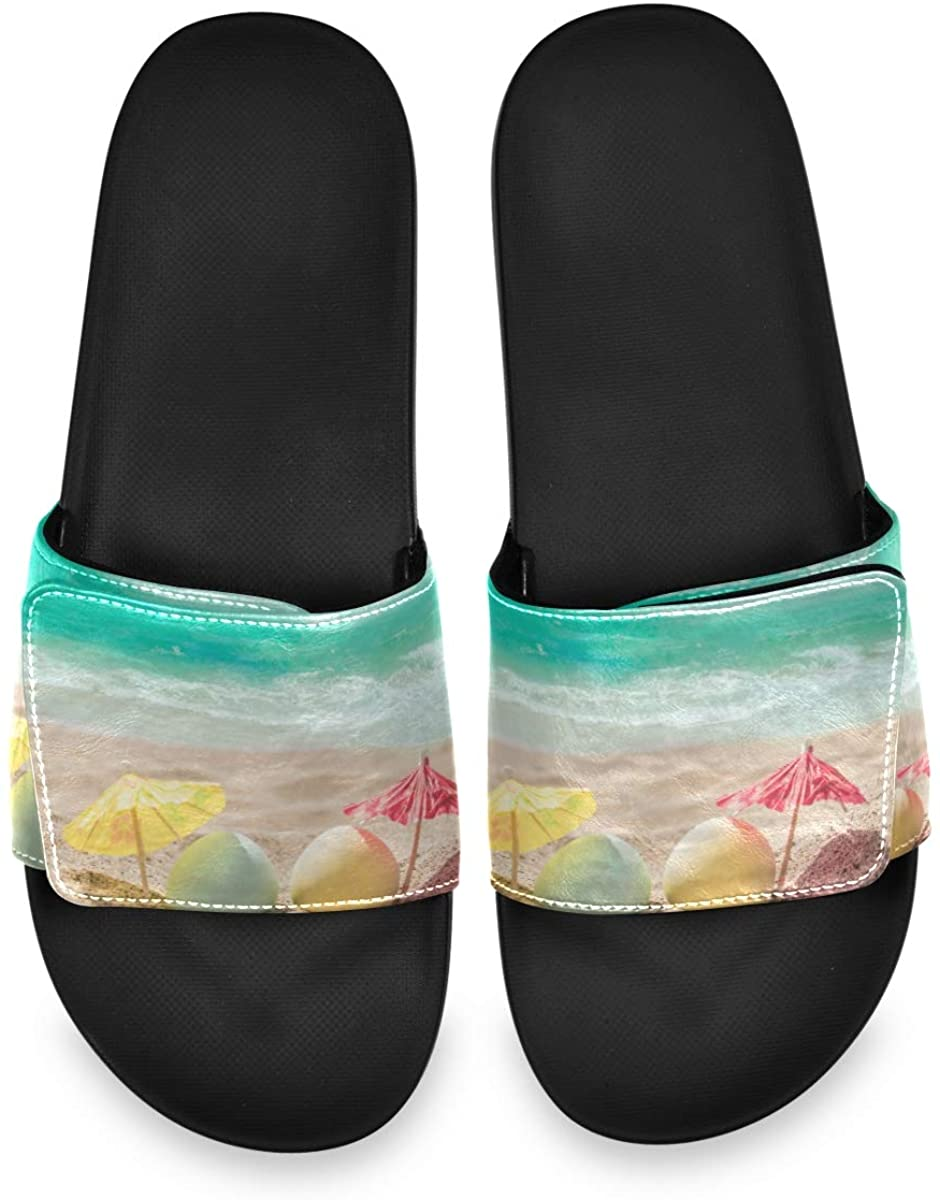 Happy Easter Background with Eggs and Coctail Umbrellas On The Sandy Beach Near Ocean Mens Summer Sandals Slide House Adjustable Slippers Athletic Boys