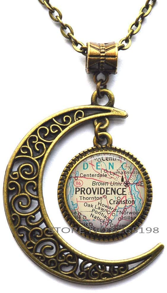 Brown University map Necklace, Brown University College Graduation Gift Alumni or Student Gift Providence Rhode Island map Necklace,N325