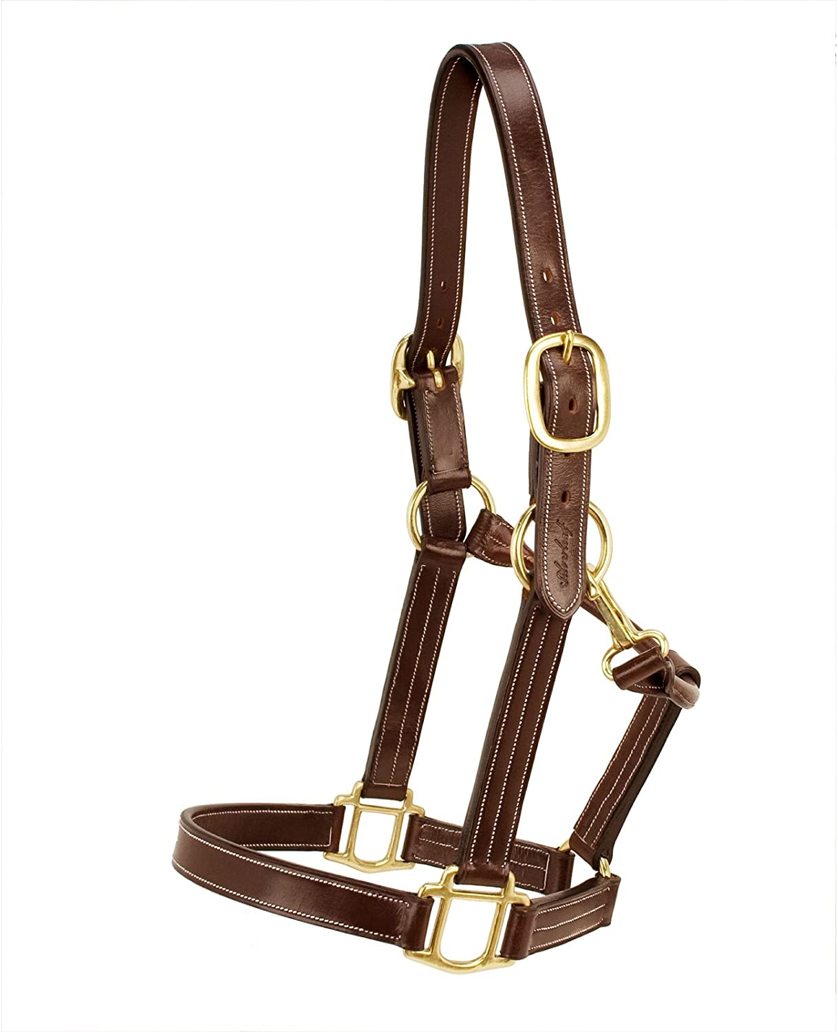 Silverleaf Plain Halter with Brass Fittings - Size:Oversize Color:Golden Oak
