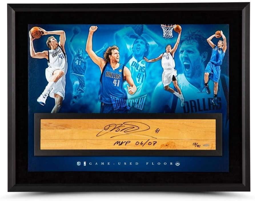 Dirk Nowitzki Autographed & Inscribed NBA Game-Used Floor Dunking Deutschmann 36 x 24 - Upper Deck Certified
