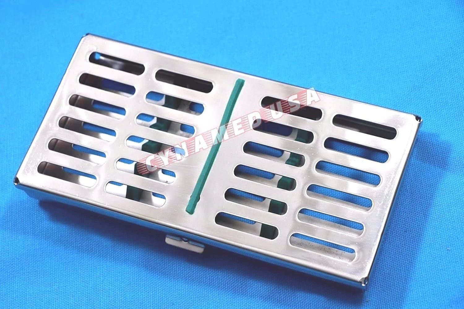 New German Stainless Dental Autoclave Sterilization Cassette Rack Box Tray for 7 Instruments-Green