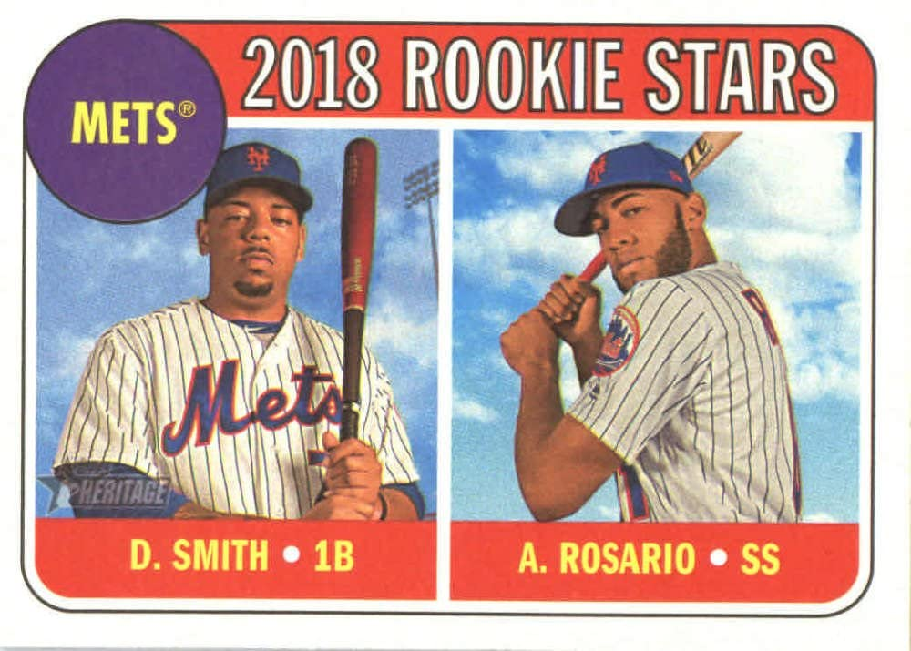 2018 Topps Heritage #31 Dominic Smith/Amed Rosario New York Mets Rookie Baseball Card